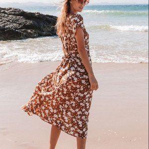 PASTEL DESIGNS Maeve Floral Midi Dress in Cinnamon